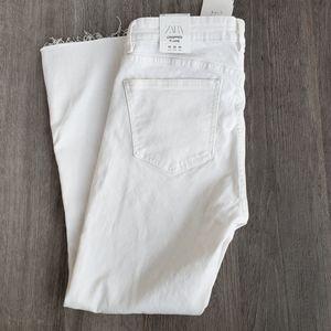 Zara Cropped Flare White Jeans Sz 8